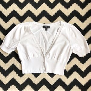 Cropped White Cardigan